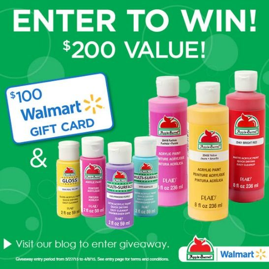 $200 Value Giveaway! Walmart Gift Card & Apple Barrel