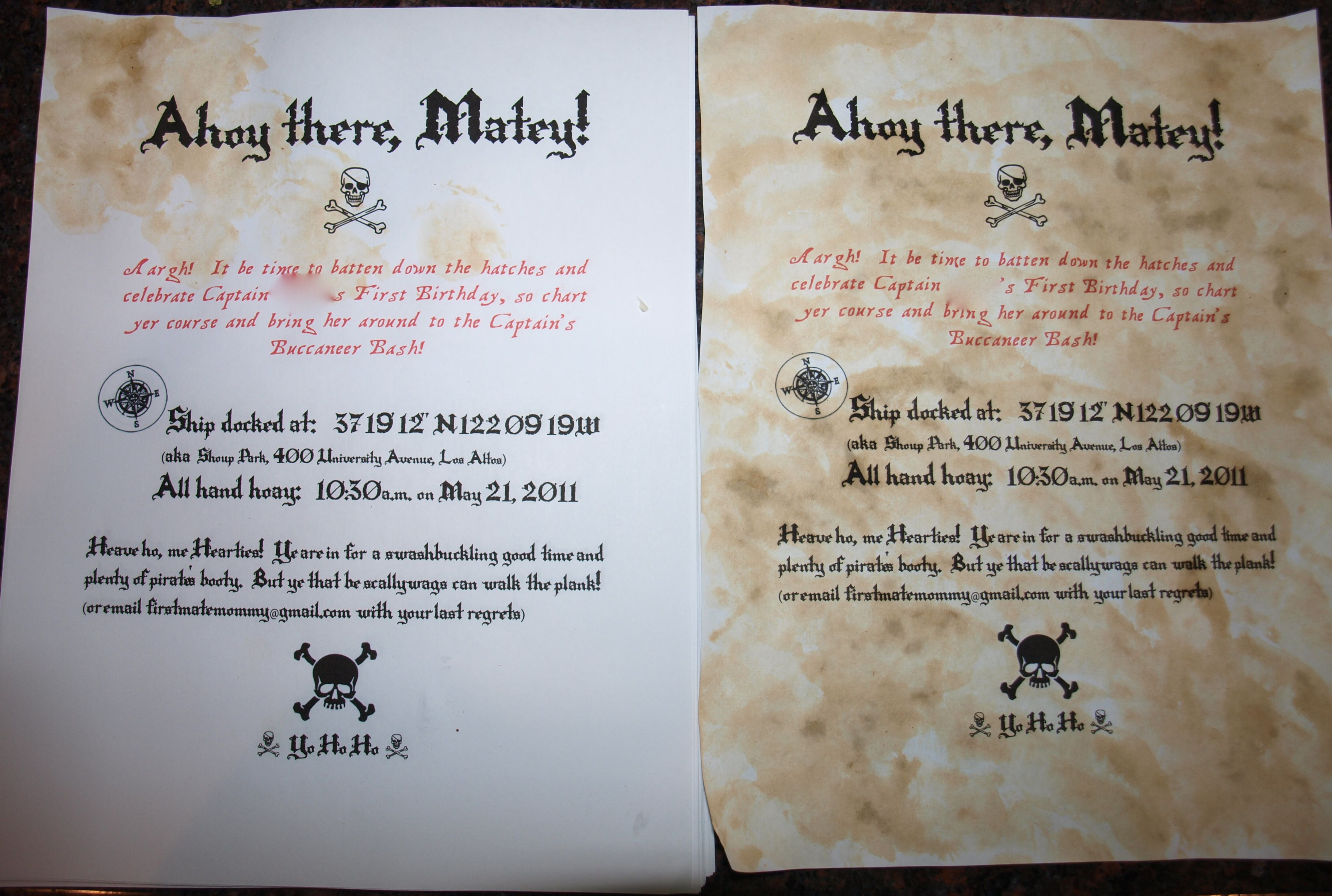 DIY Authentic Pirate Paper} This is a party invitation, but the ...