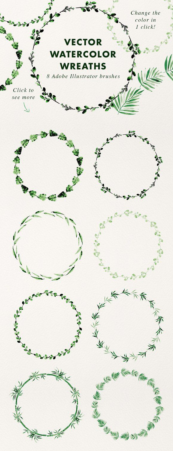 Photo of Vector watercolor wreaths (brush) CreativeWork247 – fonts, graphics, photoshop …