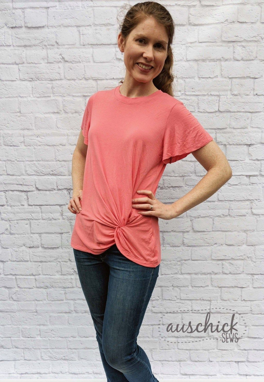 23f4e6aeff Looking for a simple twist on the knot front shirts style  This DIY shirt  pattern