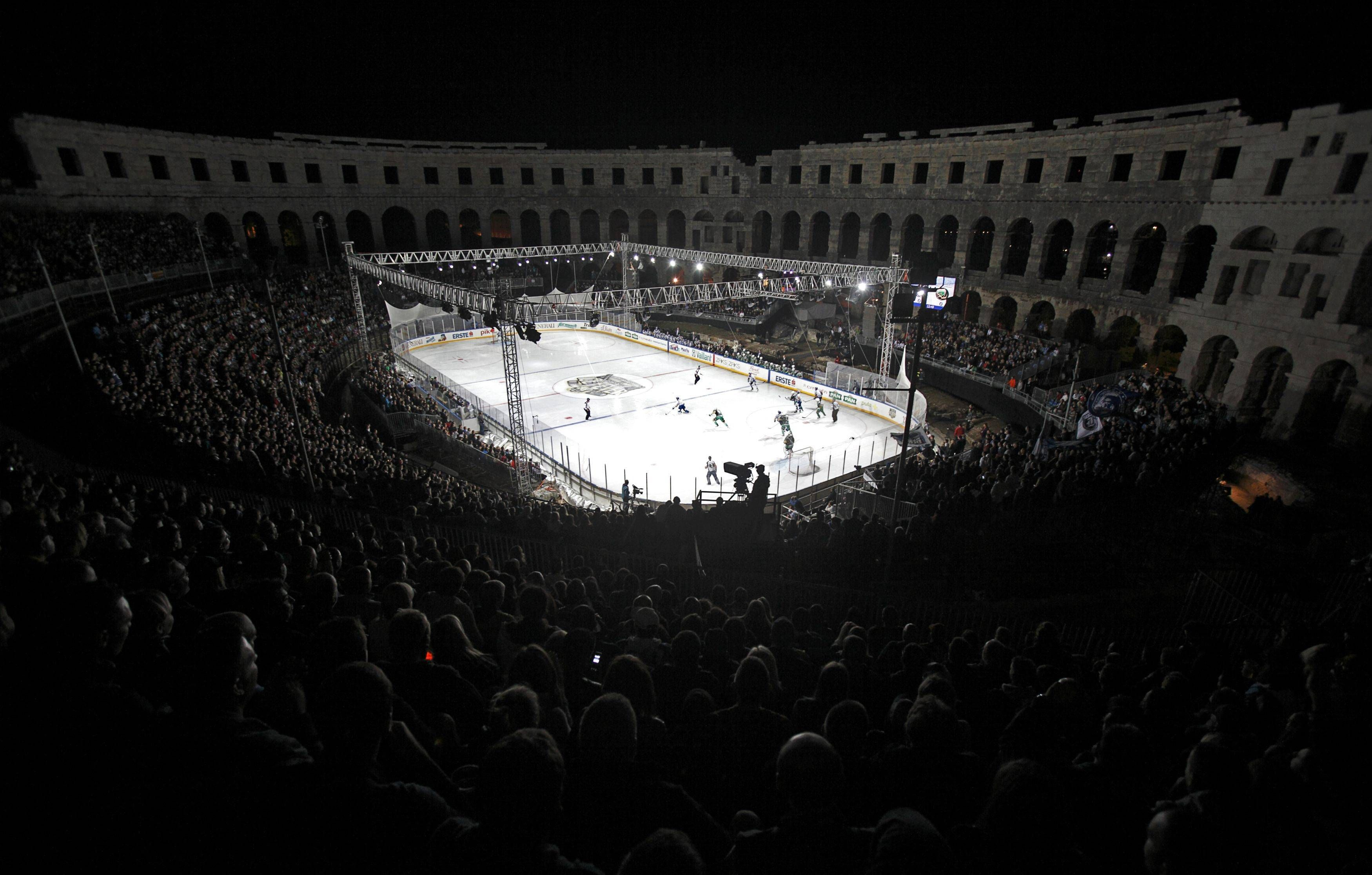How about this outdoor hockey rink in Croatia?