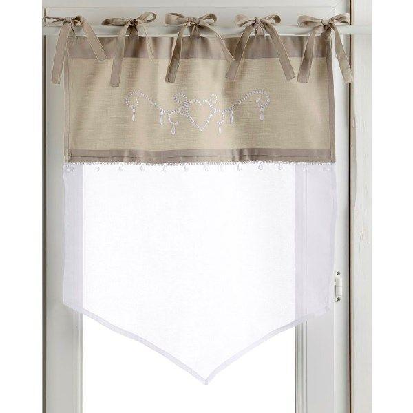 brise-bise lin blanc modèle camelia 35x90 cm | fenetres