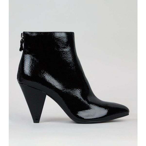 Patent Leather Boots Cone Heel Booties Ankle Boots