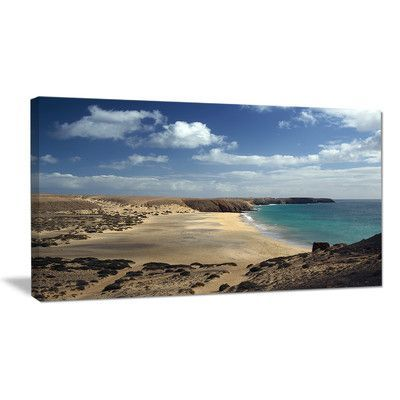 "DesignArt Bright Seashore with Blue Waters Photographic Print on Wrapped Canvas Size: 12"" H x 20"" W x 1"" D"