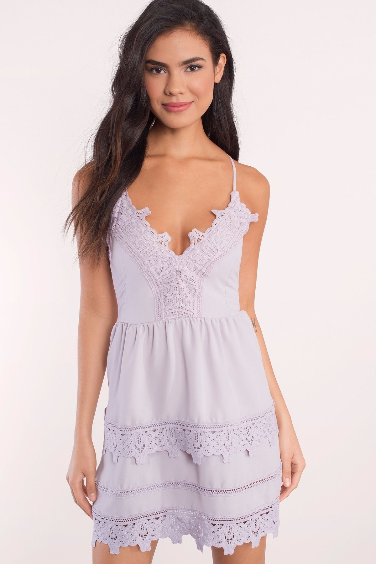 3f2e3e59d0eab Add the Truly Yours Skater Dress to your closet. Featuring a lace up back  detail and lace trim. Pair with heels and statement jewelry.