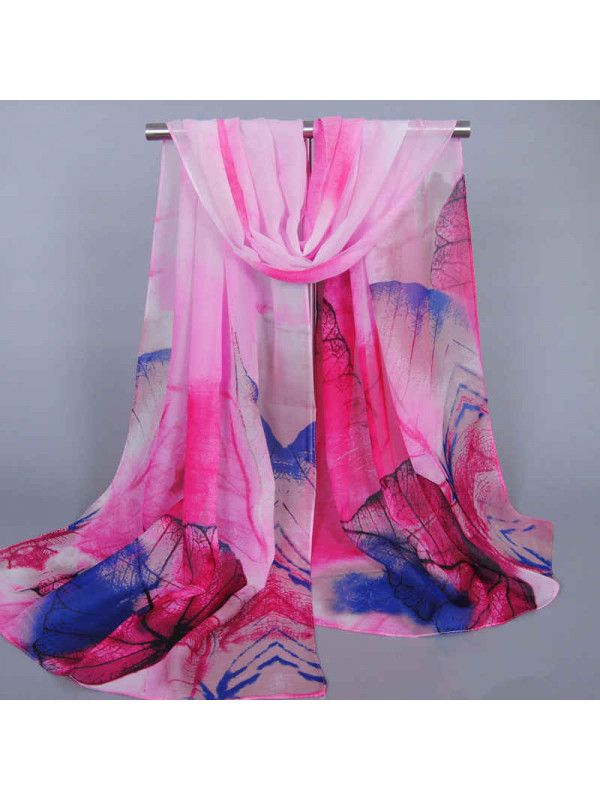 Smooth Chiffon Leaf Printing Autumn&Winter Shawl Scarves