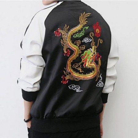 Chinese style dragon embroidered bomber jacket for men black jacket coats
