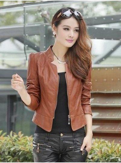 Korean Fashion style leather jacket for women   Fashion/Outfits ...