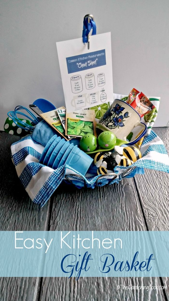 this whimsical gift basket is the perfect house warming or bridal shower gift see my 8 easy tips to making the perfect kitchen basket thegardeningcookcom