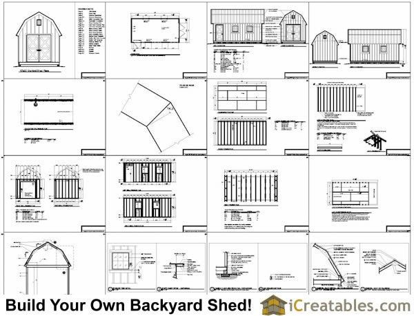 Nice 10 X 20 Gambrel Shed Plans G524 20 X 24 X 10 Gambrel Garage Barn Plans Pdf And Dwg G524 20 X 24 X 10 Shed Plans Gambrel Barn Plans