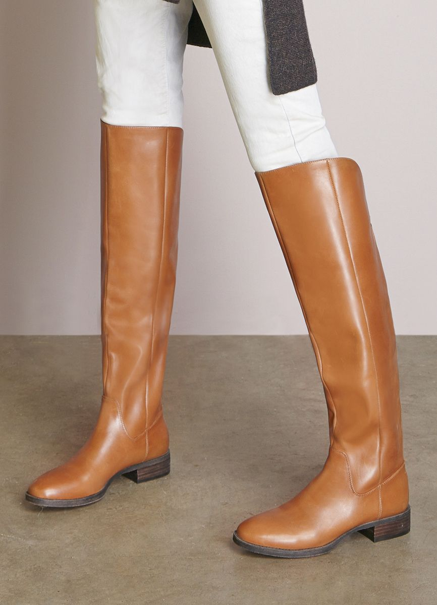 3491fb919f1 Cognac over-the-knee leather riding boots