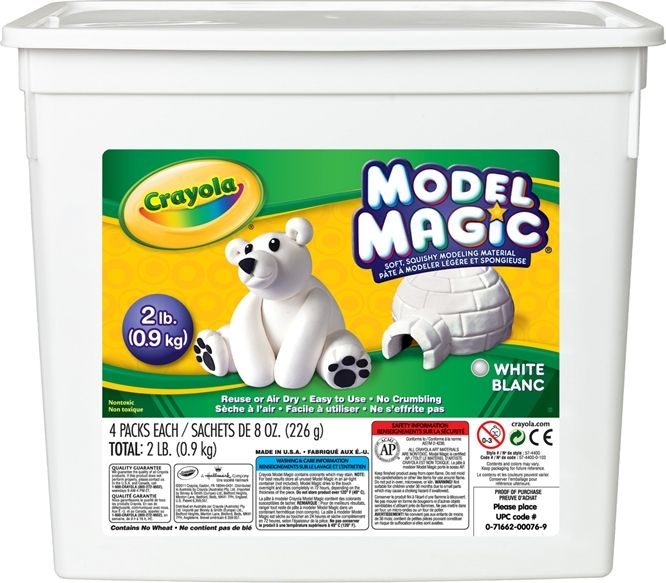 MODEL MAGIC  A unique, lightweight modeling material perfect for any age group or project. Create anything from simple shapes to intricate dioramas with this clean and extremely pliable modeling compound. Easy to paint and decorate. Air dries to a smooth, resilient finish.