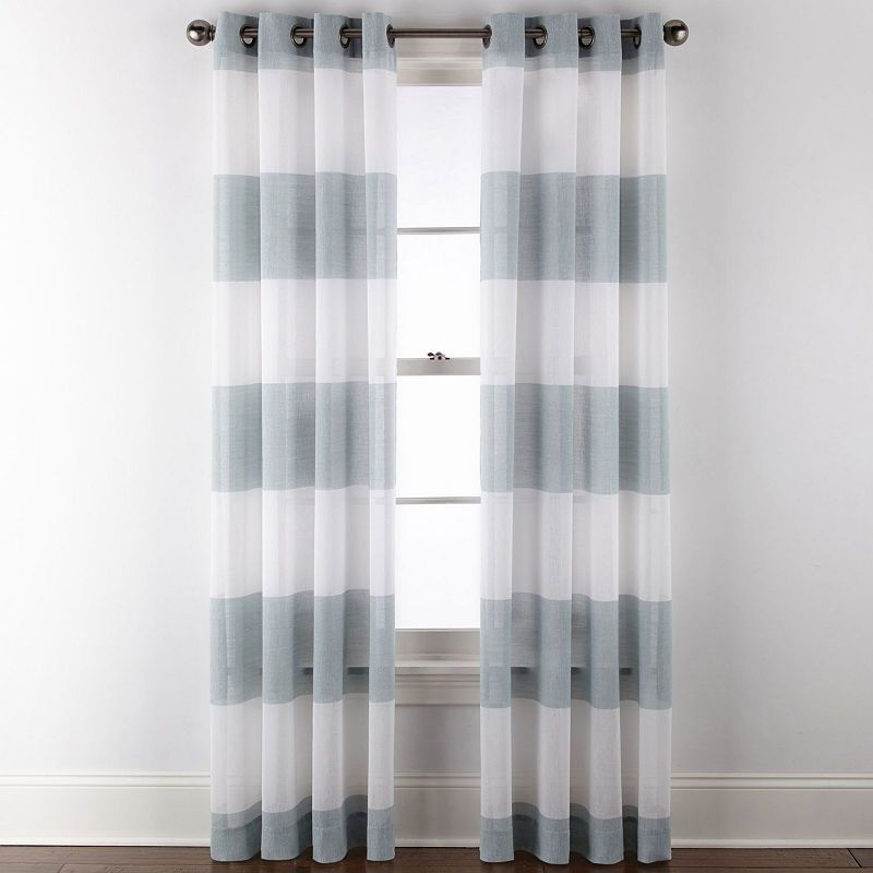 Jcpenney Home Metallic Stripe Grommet Top Single Sheer Curtain