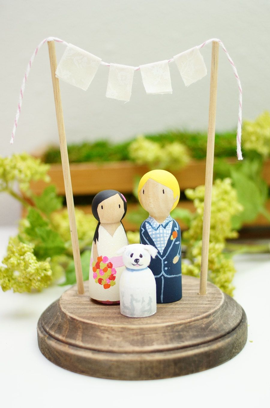 Cake Topper with Pet - rustic wedding cake topper - peg people cat ...