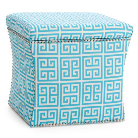 Storage Ottoman - Greek Key from Z Gallerie thinking of a couple of things instead of a traditional coffee table