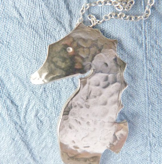 Sterling Silver Seahorse Pendant Necklace with Hammered Texture.