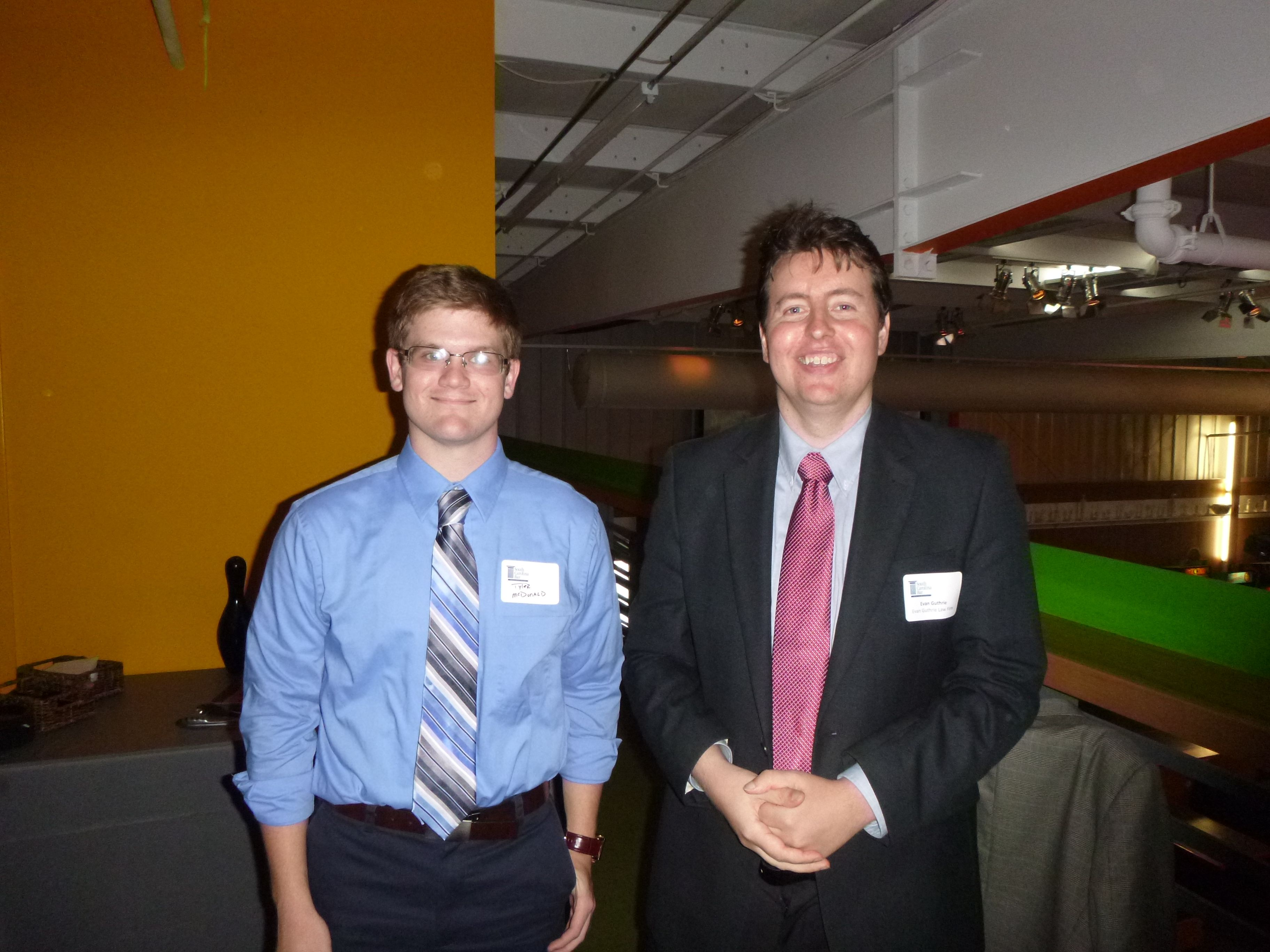 Attorney Evan Guthrie With Tyler Mcdonald Law Clerk At Evan Guthrie Law Firm At The South Carolina Bar Young Lawyers Division Profes New Law Law Firm Guthrie