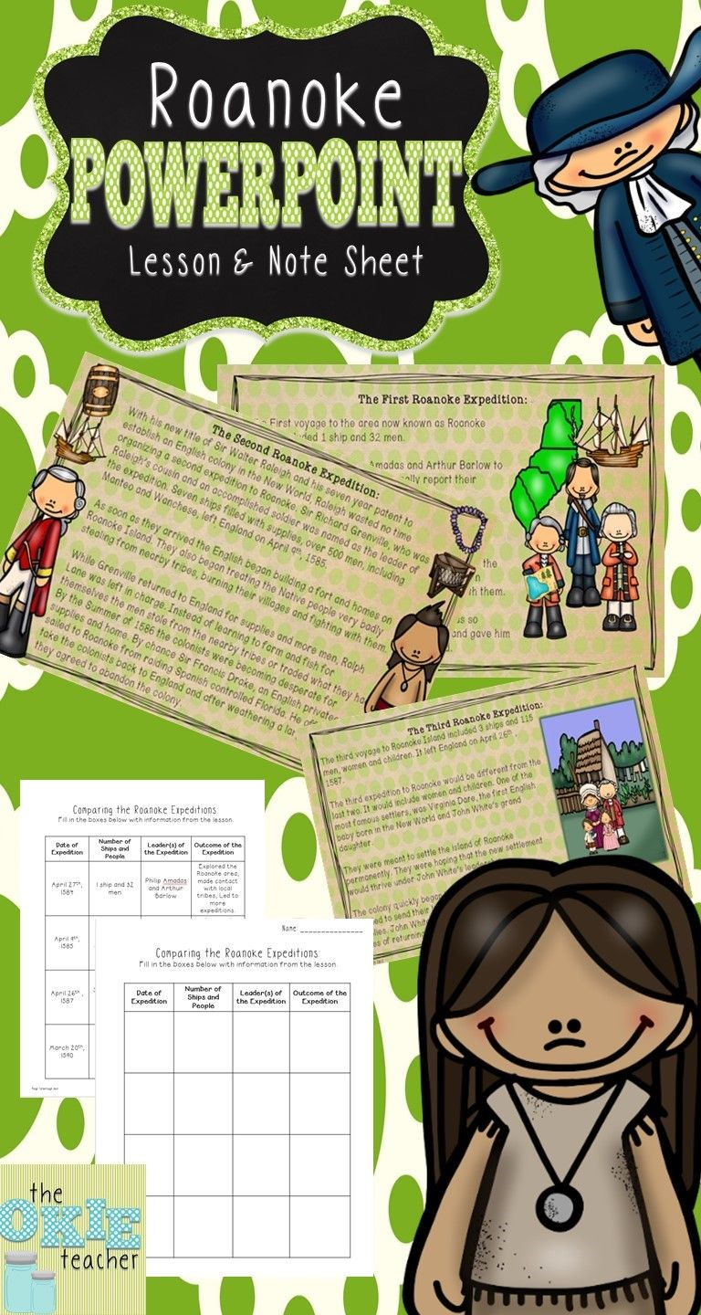 Roanoke PowerPoint Lesson and Note Sheet. 17 Slides!