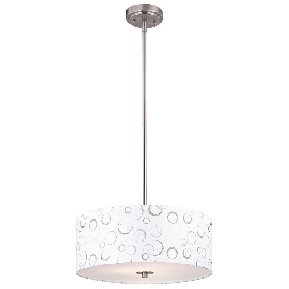 Nickel drum pendant light with white patterned shade dcl