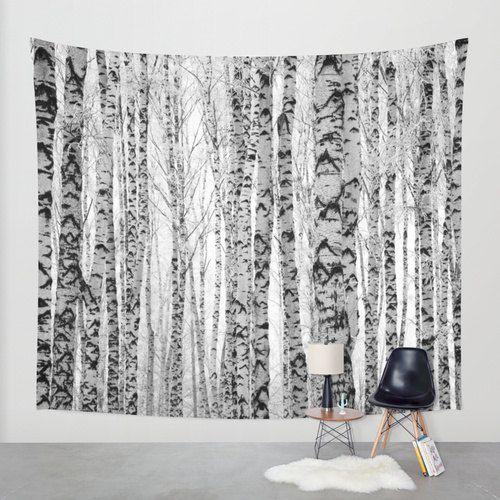 Gray Tapestry Birch Trees Nature Boho Print Wall Hanging Decor