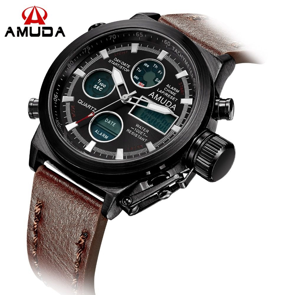 14.99$  Buy here - http://alibmk.shopchina.info/1/go.php?t=32523768095 - 2016 AMUDA Brand Dive LED Watches Men Sport Military Watch Genuine Leather Quartz Watch Men Wristwatches Relogio Masculino  #SHOPPING