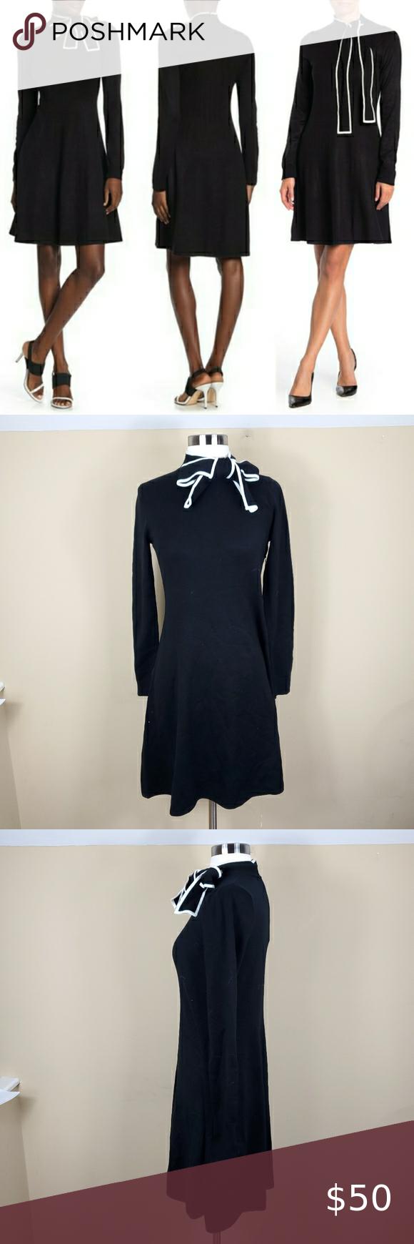 Vince Camuto Black Knit Bow Tie Neck Dress Tie Neck Dress Black Knit Knit Dress [ 1740 x 580 Pixel ]