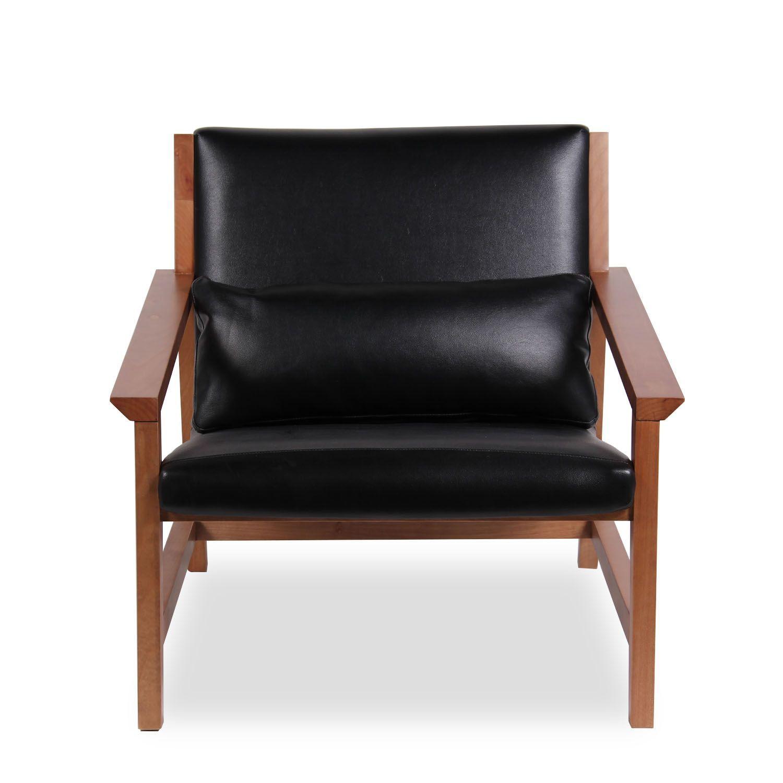 ... BoriSillón fabricado en Nogal natural con asiento en polipiel negra