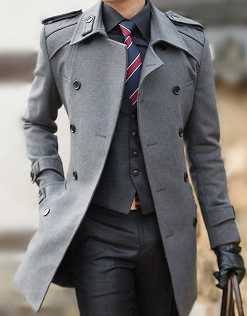 e10a9a9a7f72 Mens Double-breasted Long Winter Wool Coat Jacket Windbreaker Business suit  Jacket Grey Black L114