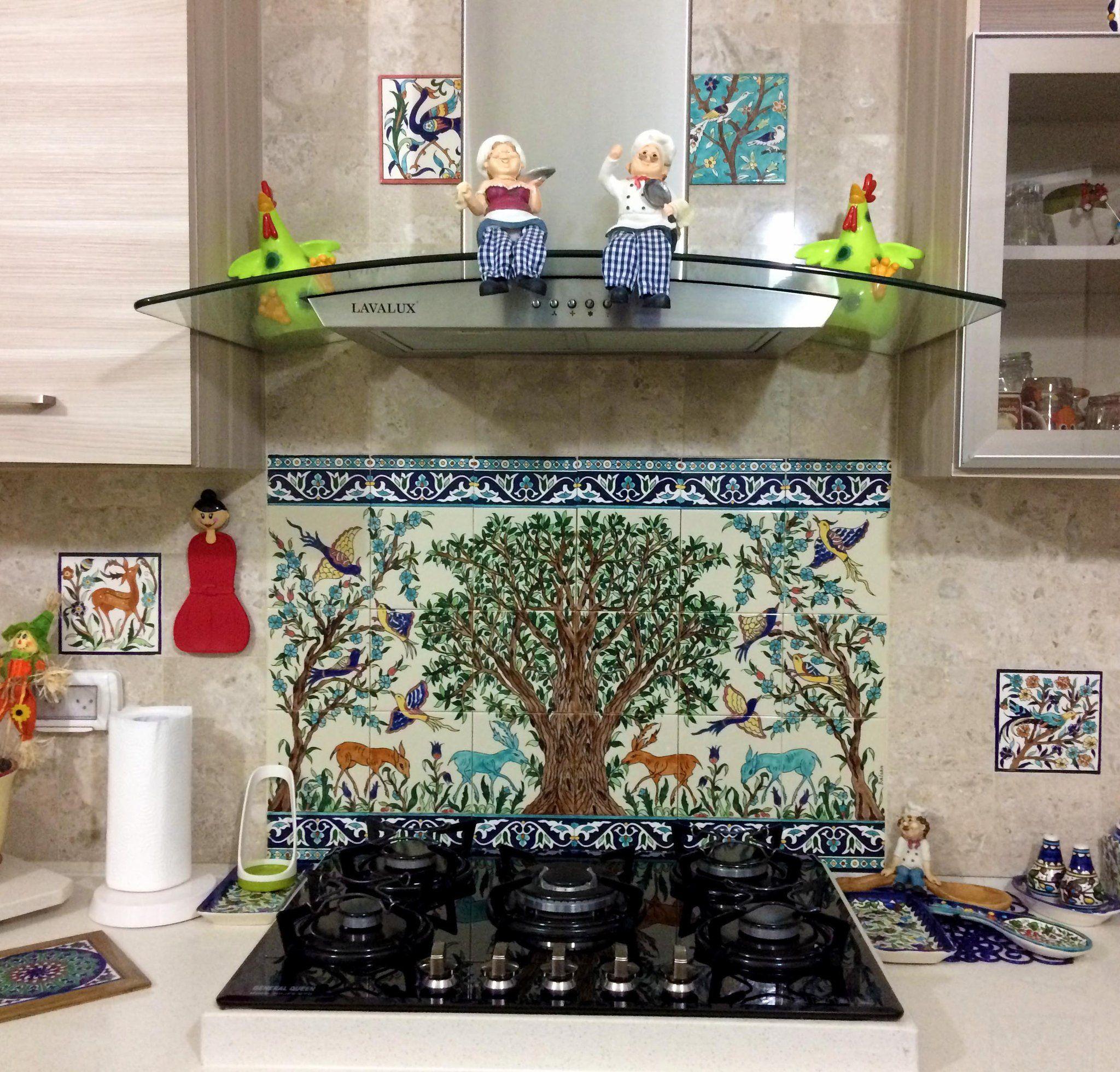 Hand painted kitchen tile backsplash tile mural of the Jerusalem ...