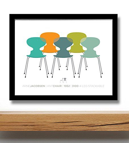 Mid century modern poster print, Arne Jacobsen Ant chairs, giclíce print 11x14 Inches VisualPhilosophy http://www.amazon.com/dp/B00KWML7JE/ref=cm_sw_r_pi_dp_puY4wb01WP6PQ