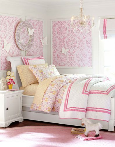Girls Bedroom Idea 5 | Pottery Barn Kids. I wonder if some large frames and a pattern material would work just the same to be hung on the walls?? Maybe a good DIY project :)