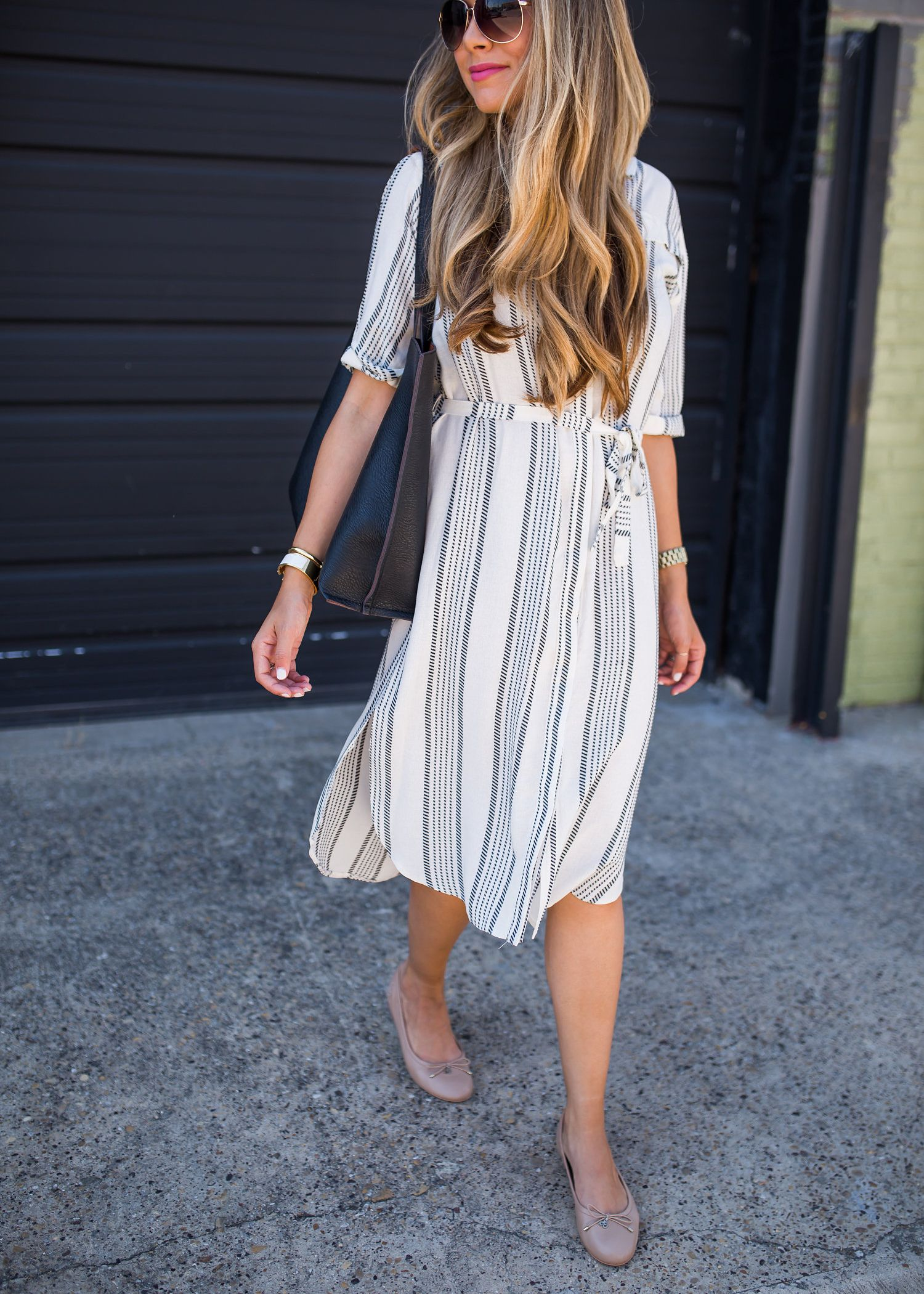 a9975db0896 Ashley Robertson in Striped Shirtdress Outfit. Striped Shirt Dress    Classic Flats by The Teacher Diva available at  nordstrom  topshop