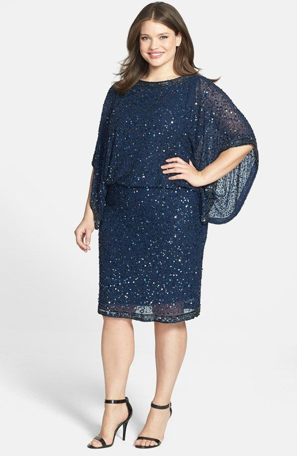 Patra Embellished Kimono Sleeve Blouson Dress (Plus Size ...
