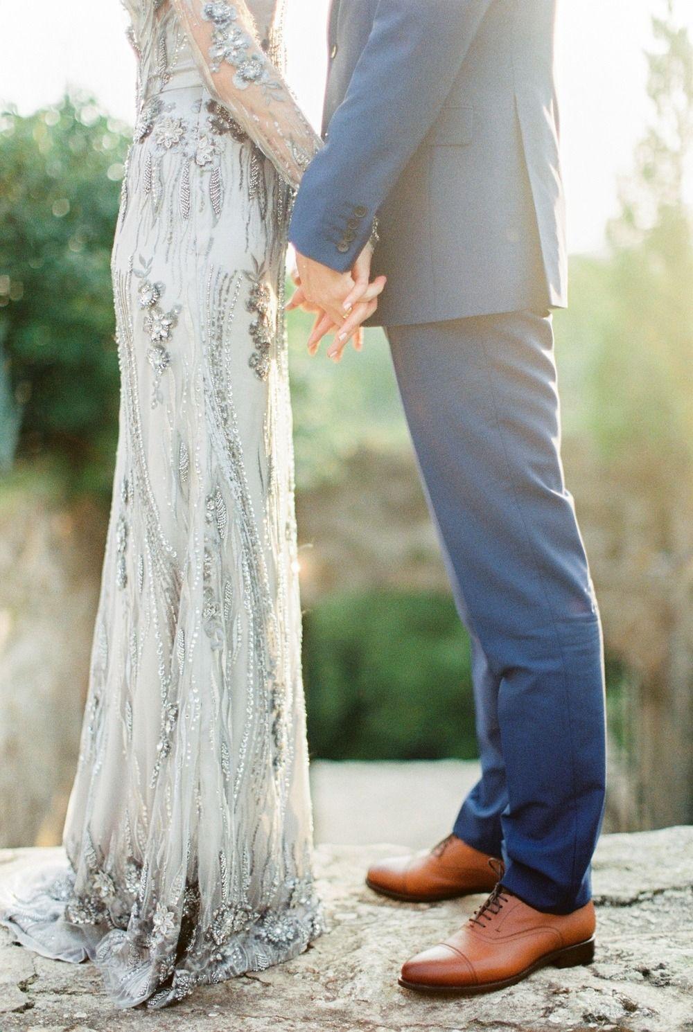 Whimsical summer wedding with custom silver dress wedding