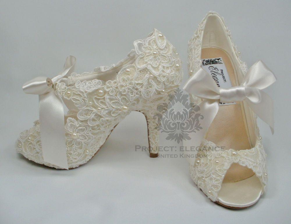 Womens New Ivory Vintage Lace Pearl Peep Toe High Heel Shoes Bridal Wedding