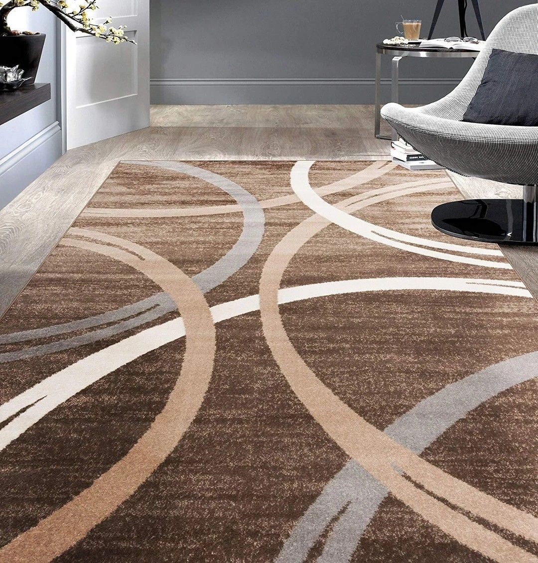Contemporary Circles Pattern Brown Beige Soft Area Rugs In 2020 Area Rugs Area Rugs For Sale Rugs