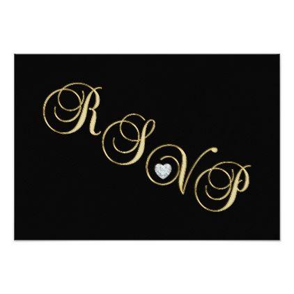 Template  Elegant Black White Gold Rsvp Wedding Anniversary Card