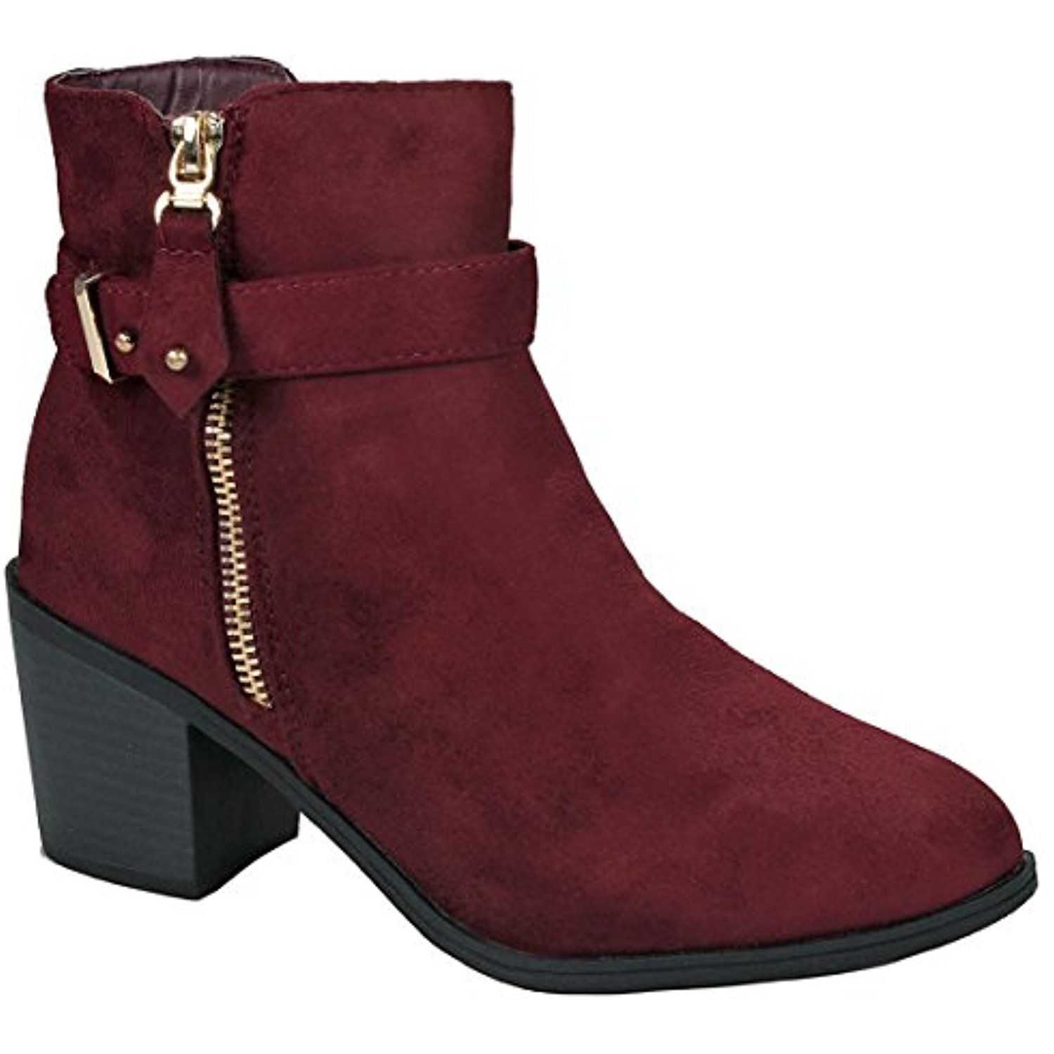 Womens Chunky Heel Almond Toe Faux Suede Ankle Booties