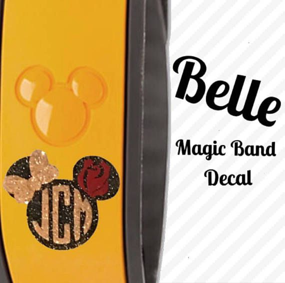 Belle glitter magic band name monogram decal beauty and the