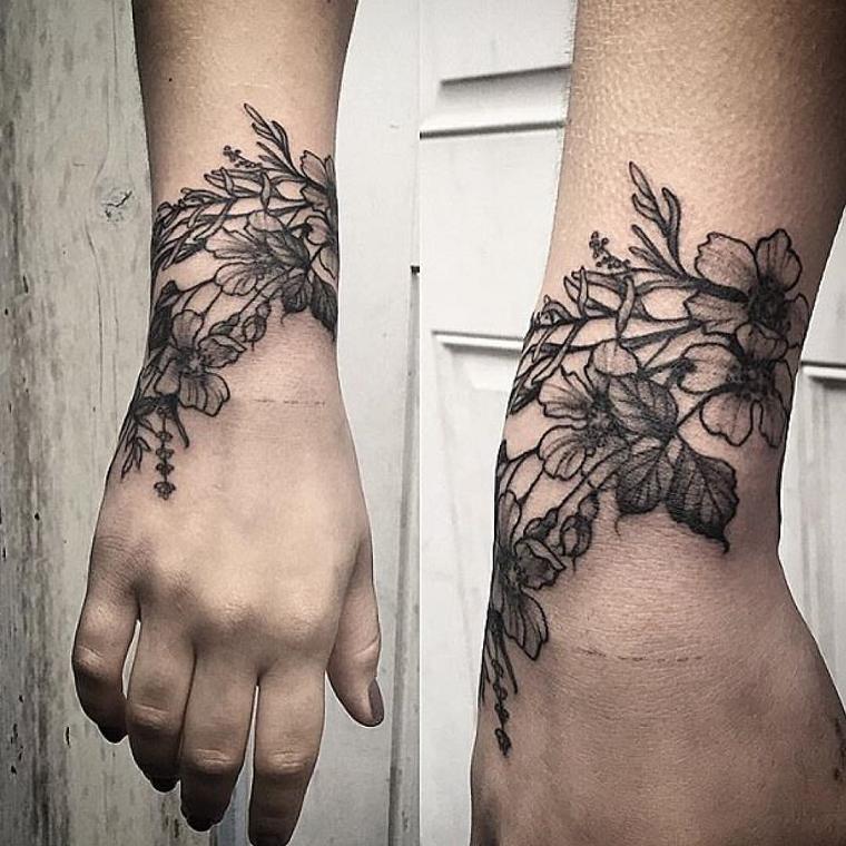 tatuaggio,polso,fiori,bianco,nero
