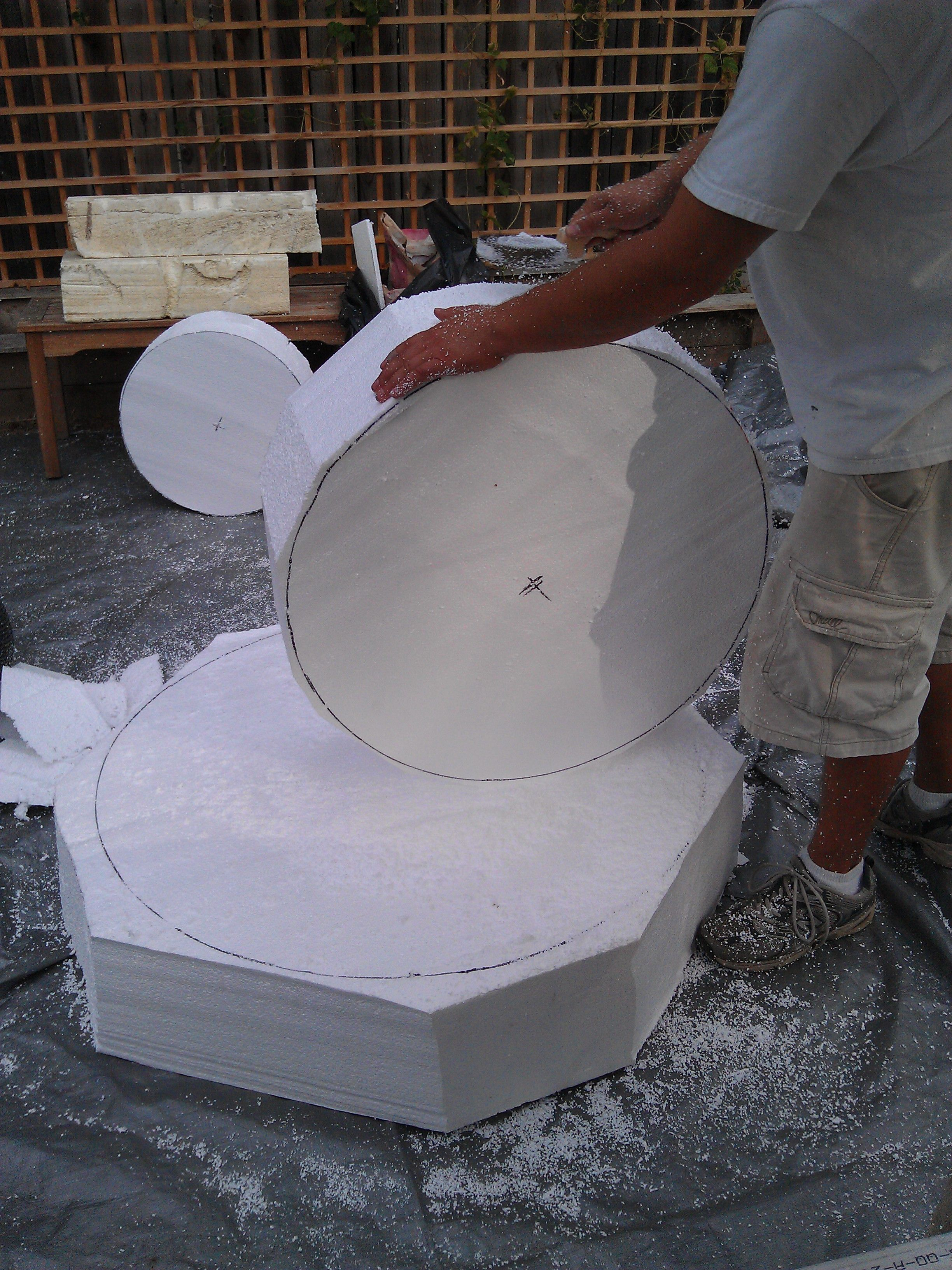 Carving The Foam 3 Tier Fountain Prop