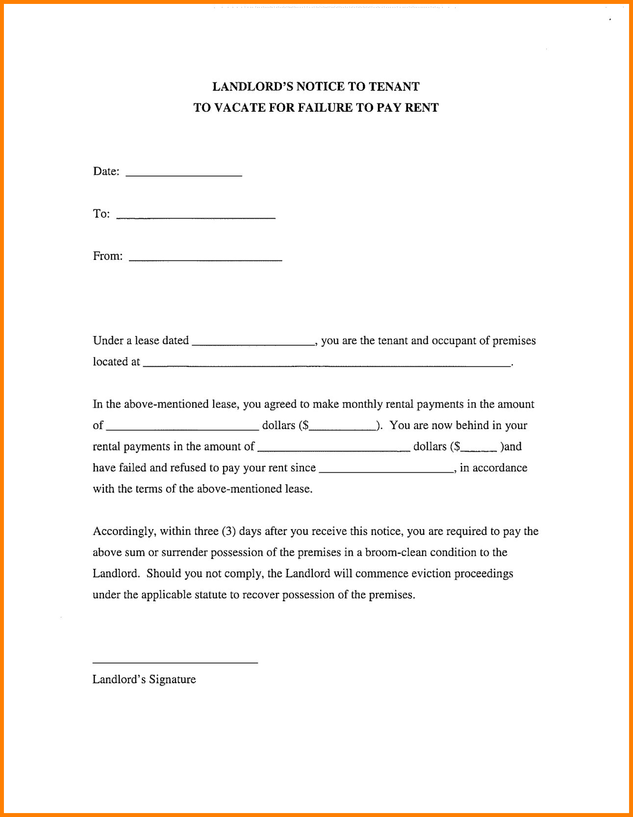 certification letter rental from landlord tenant Being a