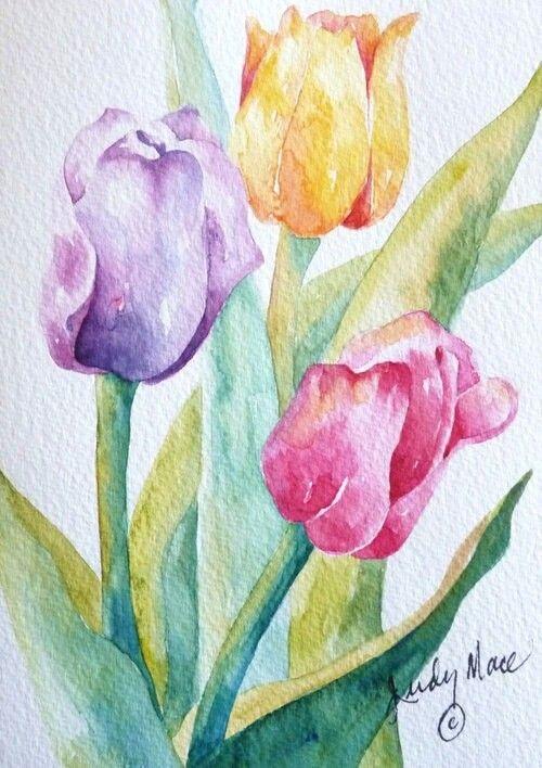 Peinture De Tulipe Peinture Fleurs Peintures Florales Art De