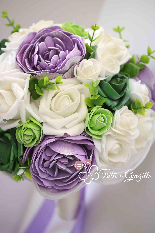 Bouquet Sposa Glicine.Bouquet Sposa Rose Peonie Verde Lilla Bridal Bouquet Lilac Green