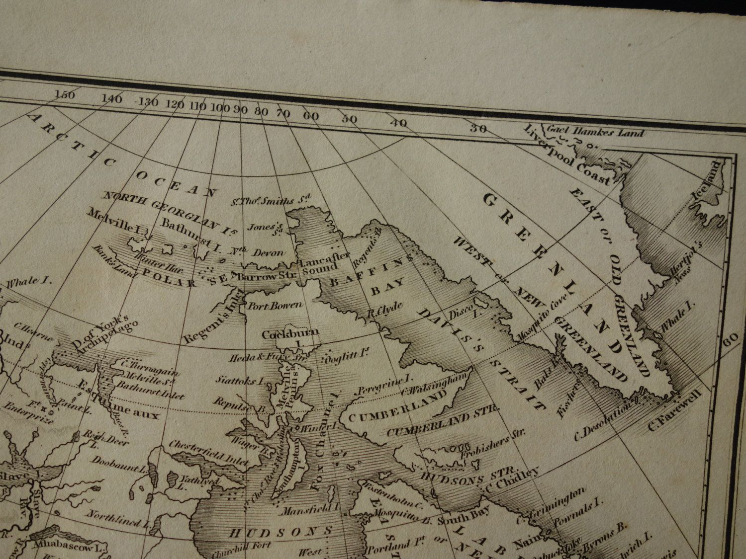 Antique map of North America 1826