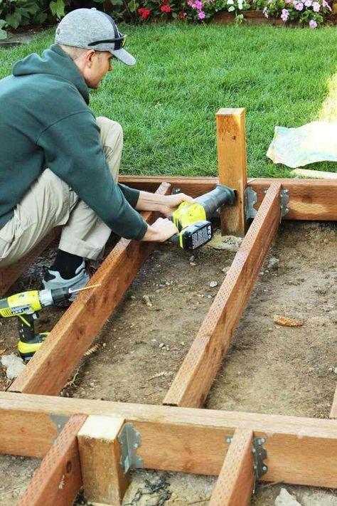 Faire Une Terrasse En Bois Tuto Detaille Pour Fabriquer L Ossature D Un Plancher En Bois Avec Images Plancher En Bois Faire Une Terrasse Terrasse Bois
