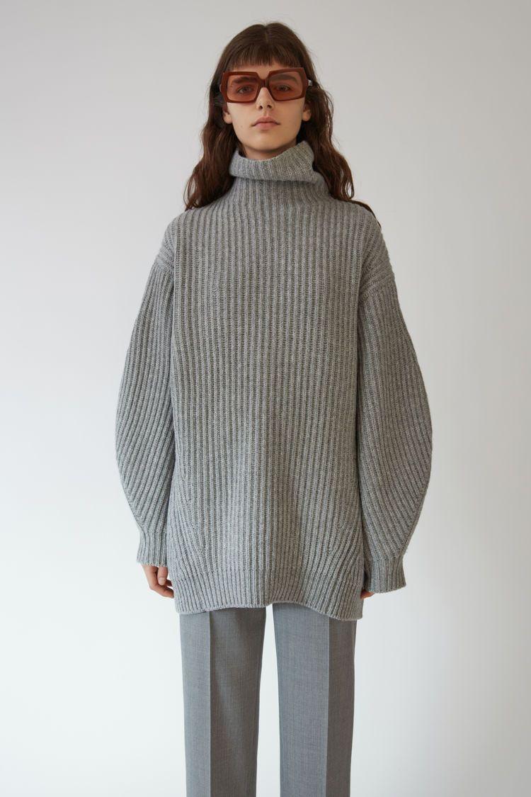 Acne Studios Isa L-wool Dark Grey Melange 375x | Gray woman knit ...