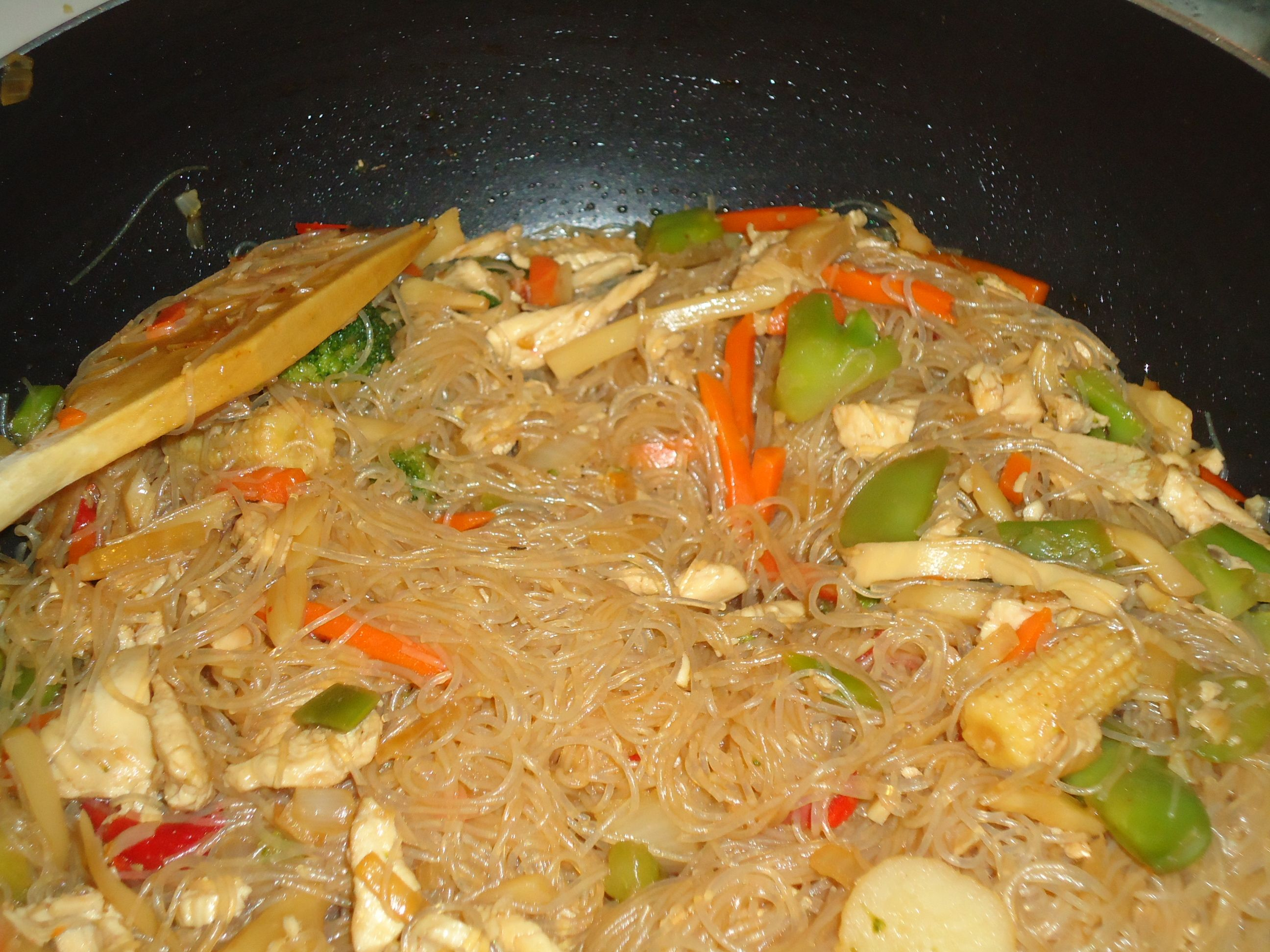 Stir Fried Chicken With Bean Thread Noodles And Vegetables With