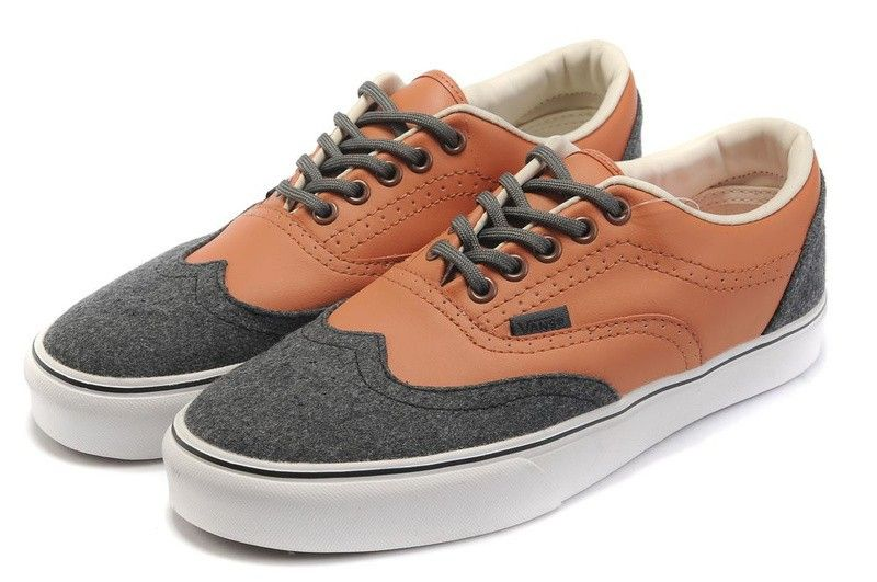 30ef2a885fc85d Vans Era Wingtip CA Leather Canvas Mens Skate Shoes - Brown Gray ...