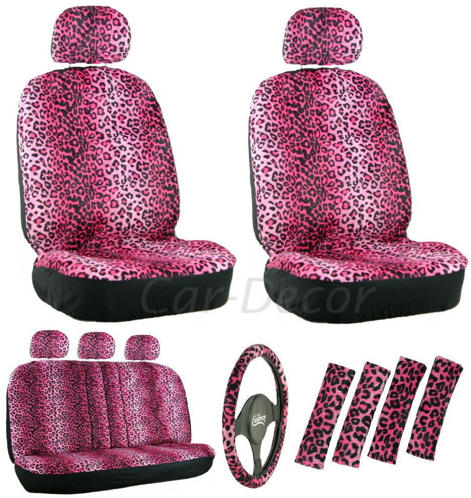 Girly Pink Leopard Auto Seat Cover 17 Piece Set Pink car